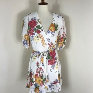 NEW Reformation floral wrap mini dress